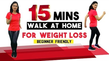 15 Mins Walk At Home For Weight loss | Easy Fat Burning Indoor Walking Workout For Beginners
