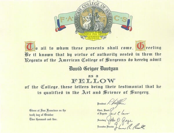 David G. Davtyan's 2002 Fellowship American College Of Surgeons Certification Qualified In The Art and Science of Surgery