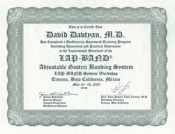 Dr. David G. Davtyan's 2002 BioEntrics Training Program of The Lap-Band System Certification Tijuana, Baja California, Mexico