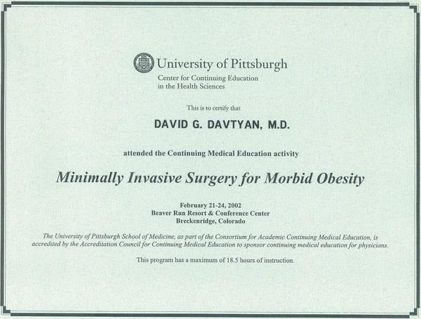 Dr. David G. Davtyan's 2002 University of Pittsburgh Minimally Invasive Surgery For Morbid Obesity Certification