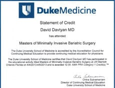 Dr. David G. Davtyan's 2013 Statement Of Credit For Attending Master of Minimally Invasive Bariatric Surgery Duke Medicine