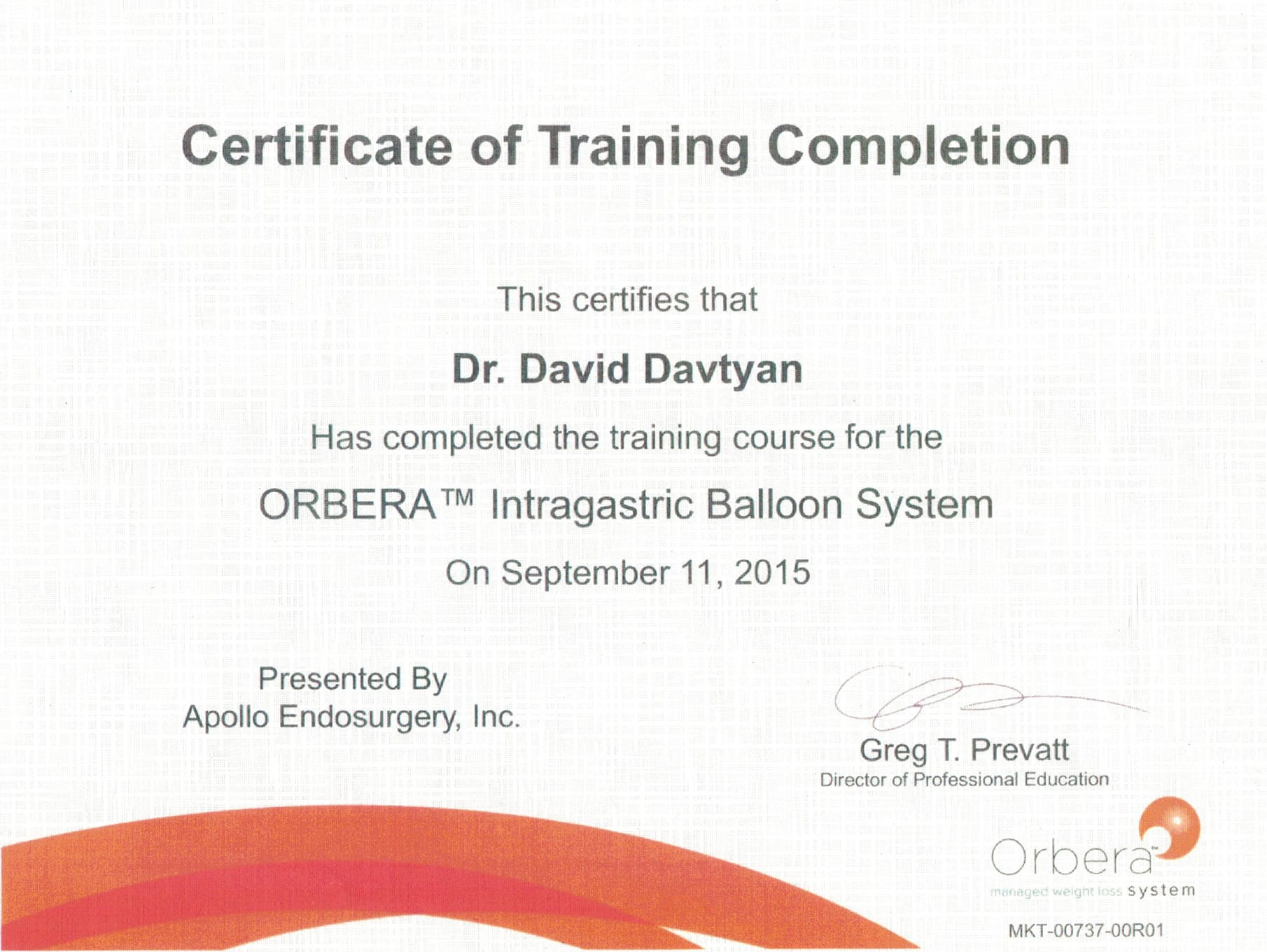 Dr. David G. Davtyan's 2015 Apollo Endosurgery, Inc. Certificate of Training Completion Orbera Intragastric Balloon System
