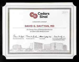Dr. David G. Davtyan's Commendation For Twenty Years of Distinguished Service to Cedars Sinai Medical Center in Bariatric Surgery Los-Angeles