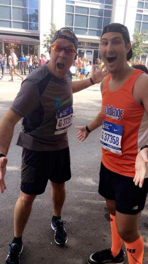 Ed and Josh rocking the Chicago Marathon together for the 4th? time!!