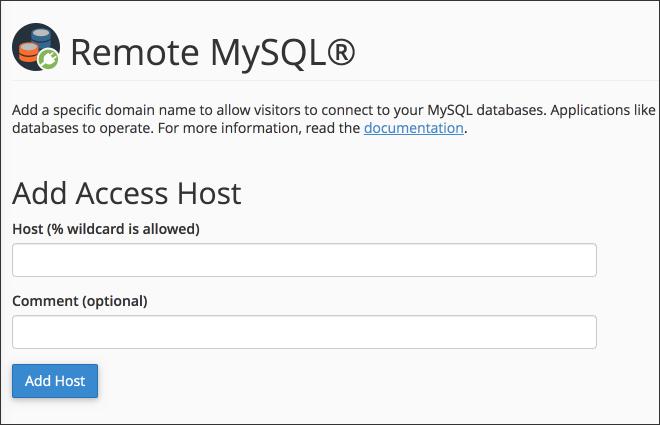 Remote MySQL panel