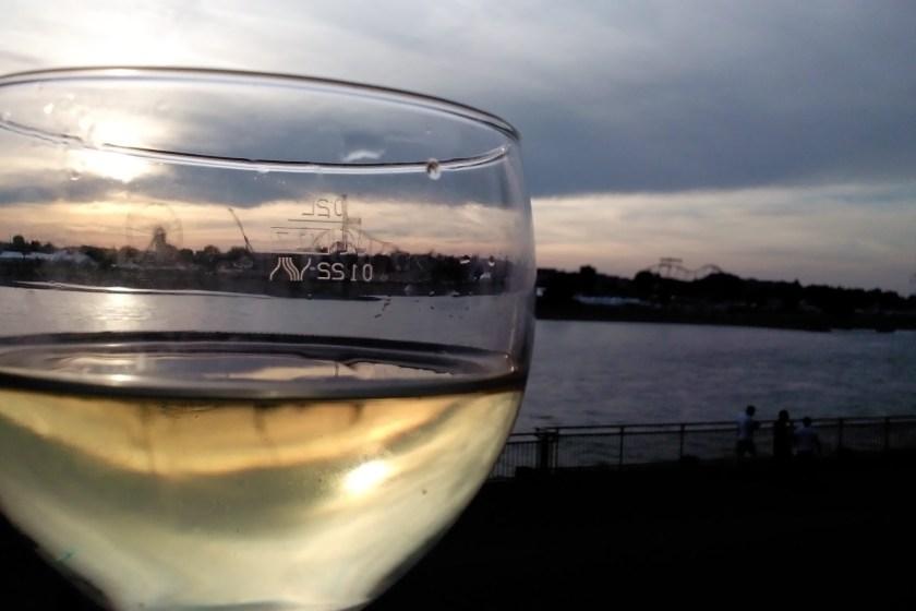 Ein Glas Wein am Rhein beim Frankreichfest beim Weinblog