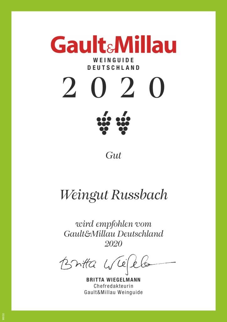 Die Urkunde des Gault&Millau 2020 für das Weingut Russbach. Zwei Trauben,
