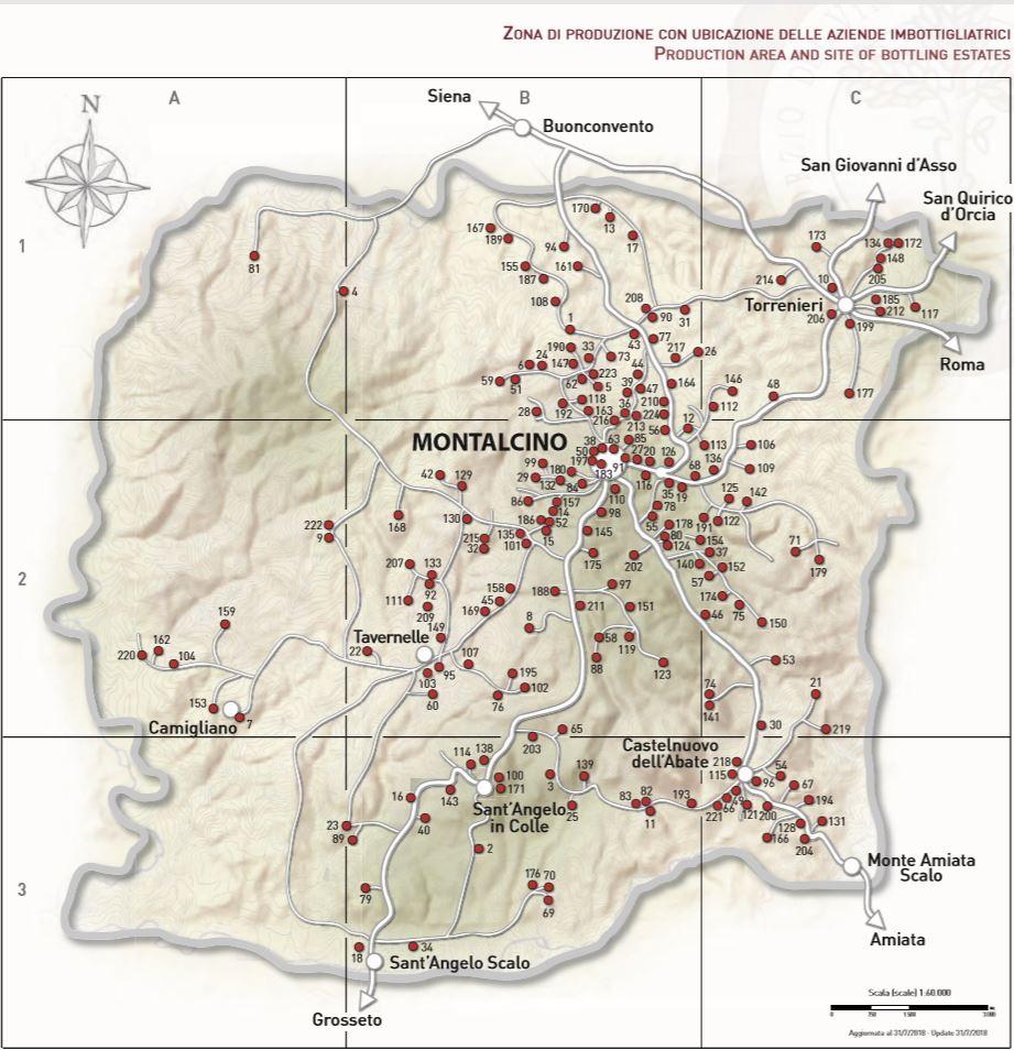 Karte der Brunello Weingüter