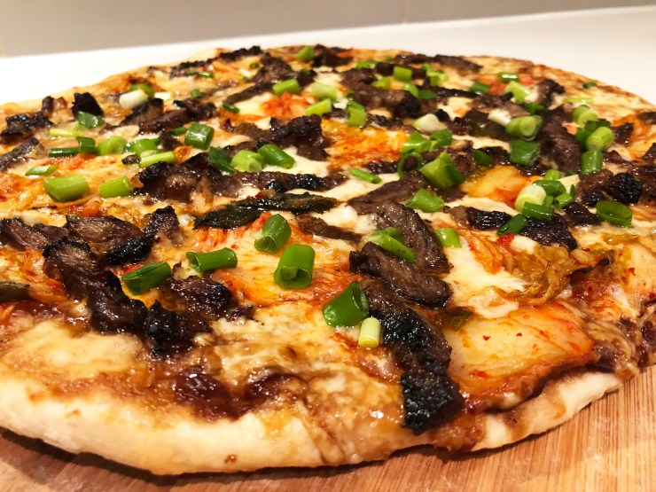 Korean BBQ Beef and Kimchi Pizza