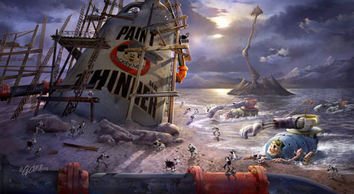 Epic Mickey Concept Art, a disturbing scene of classic Disney characters mixed with robotic additions