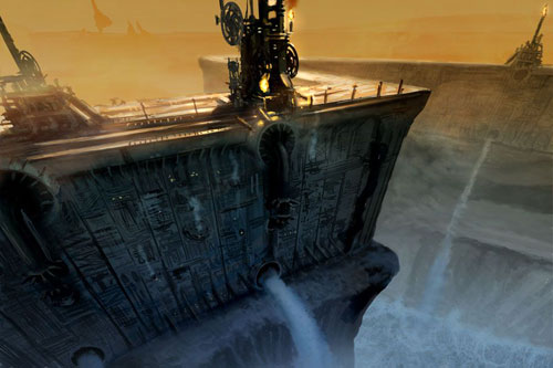 Epic Mickey Concept Art, a damn with a steampunk aesthetic