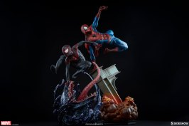 marvel spider-man Miles Morales and Peter parker premium-format figures comparison from sideshow