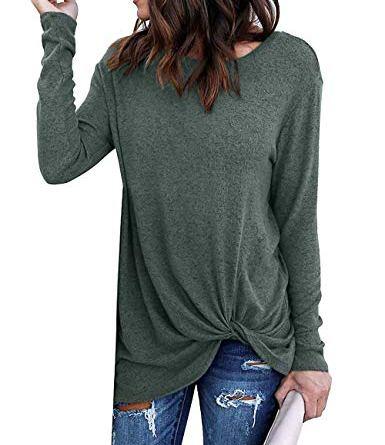 Yidarton Women's Comfy Cold Shoulder Twist Knot Tunics Tops Blouses Tshirts