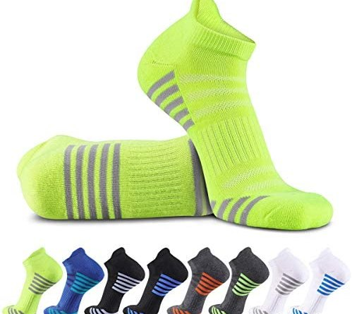 Bodvera Men's 8 Pack Performance Ankle Athletic Running Socks Cushioned Breathable Low Cut Sports Tab Socks