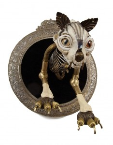 Stardust,2010, 9x8x9 in. Antique brass hardware and findings, brass, silver, velvet, wood, glove leather, glass eyes