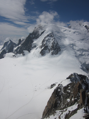Mont Blanc from the L'Aiguille de Midi viewing platform, where climbers scaling the mountain look like periods in an ever-winding ellipse through time.