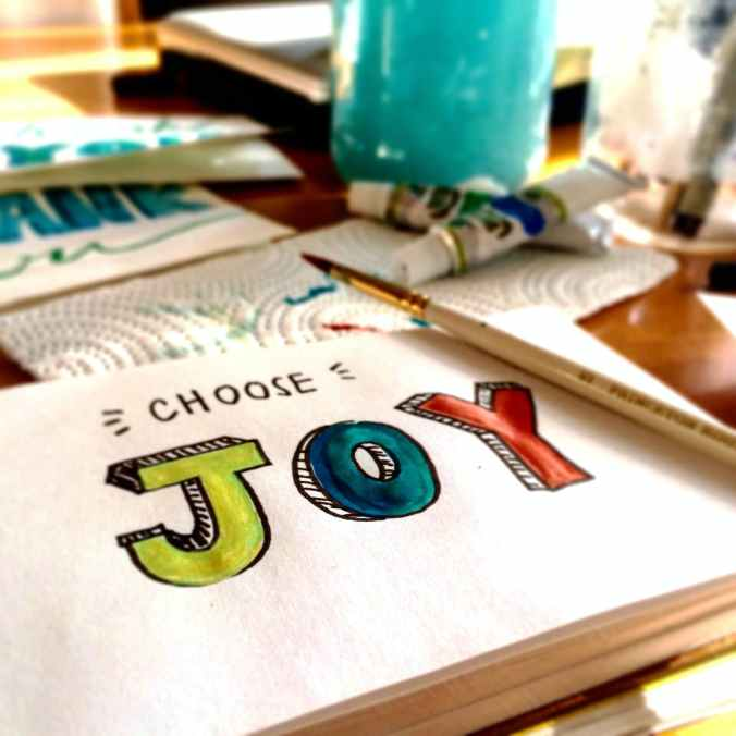 choose joy coulourfull text