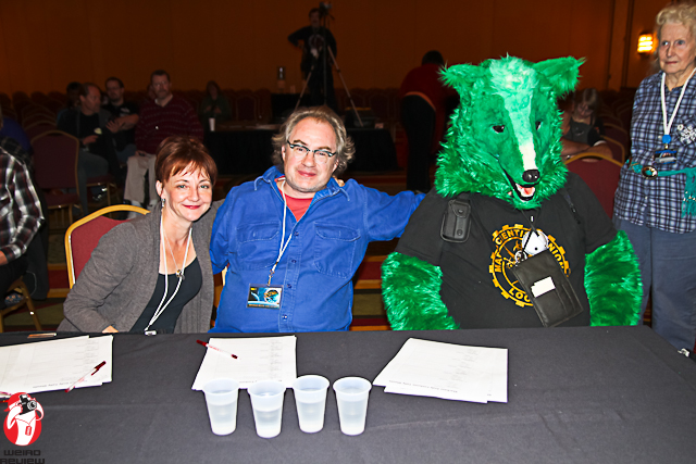 John Billingsley and Bonita Friedericy were guest star judges at the Starbase Indy Masquerade