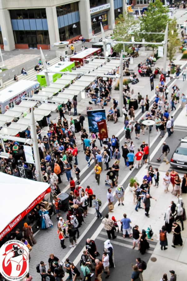 GenCon 2014 attendees hit the food trucks while the Wizards of the Coast music drones on