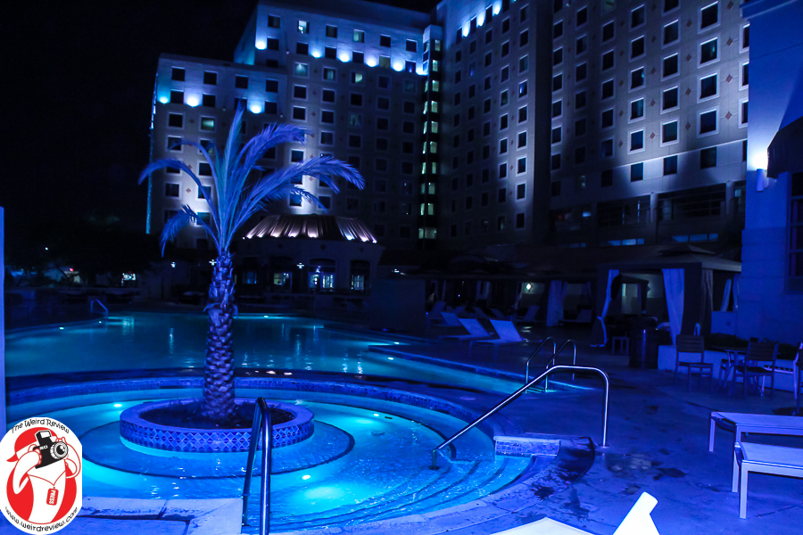 The Harrah's Gulf Coast lighted whirlpool with a palm tree centerpiece