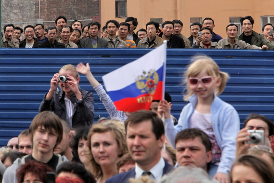 The meeting at the Victory Day in St.Petersburg