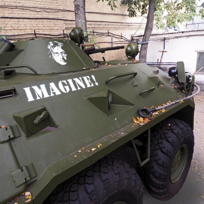 Painted on the armored troop-carrier, prepared for a crackdown on Bolotnaya square in Moscow