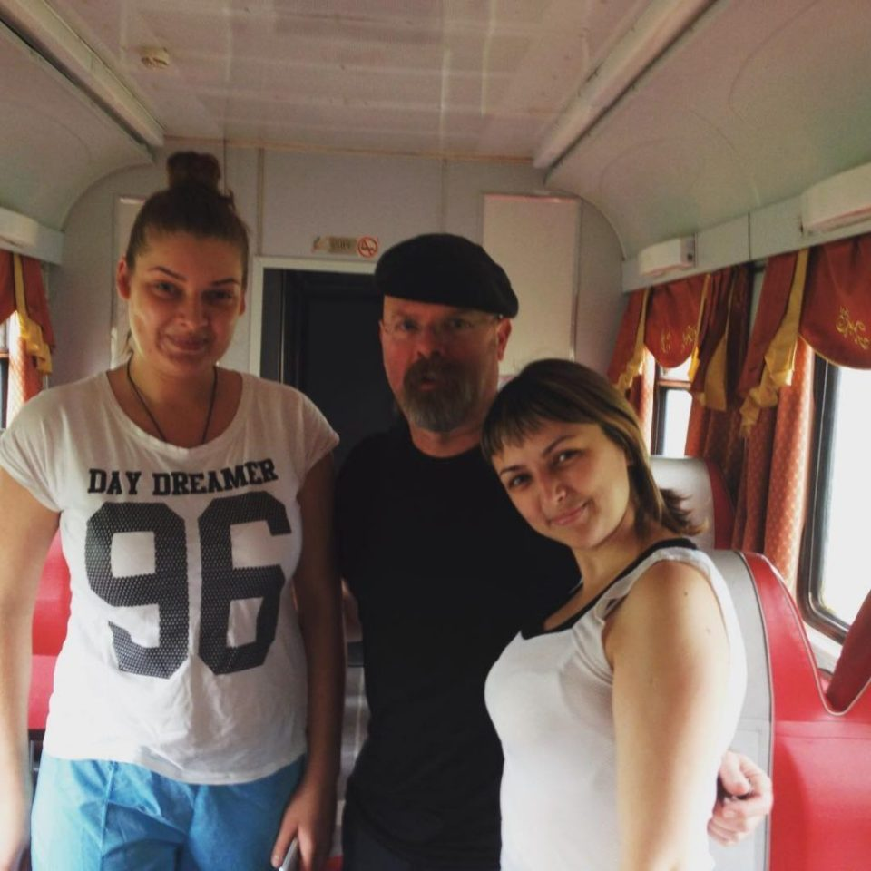 Two nice young women who tend the restaurant car. They said they like living on the train.