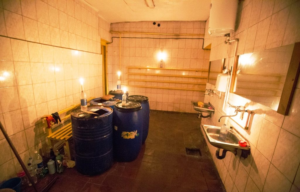 Public toilet with candles at the central bus station in Voronezh