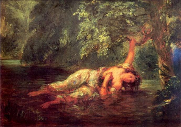 Eugène Delacroix, mort d'Ophélie-1844