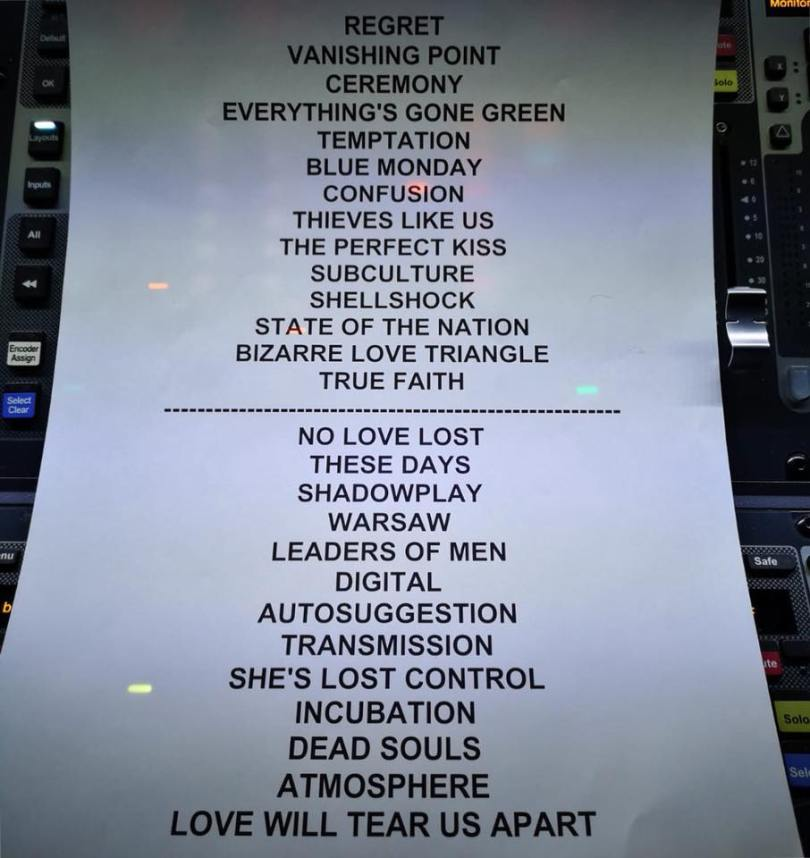 Setlist de Peter Hook & The Light, 17 janvier 2019, Stereolux, Nantes