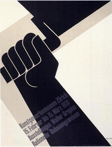 """01-This is a """"Walter Gropius, Rational Building Construction"""" poster by Ernst Keller for two exhibitions at the zurich Kunstgewerbemuseum in 1931"""