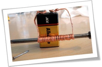 An electro-magnet comprised of battery, copper coil and an iron nail.