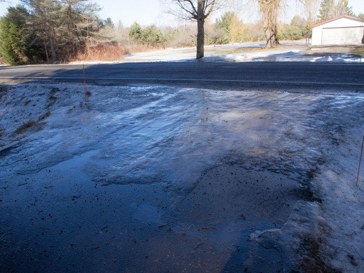 Ice at end of driveway