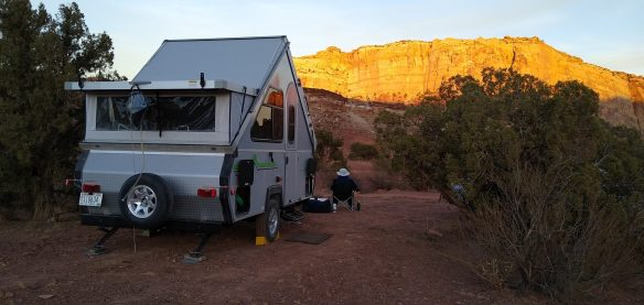 Campsite in the San Rafael Swell, Temple Mtn in background