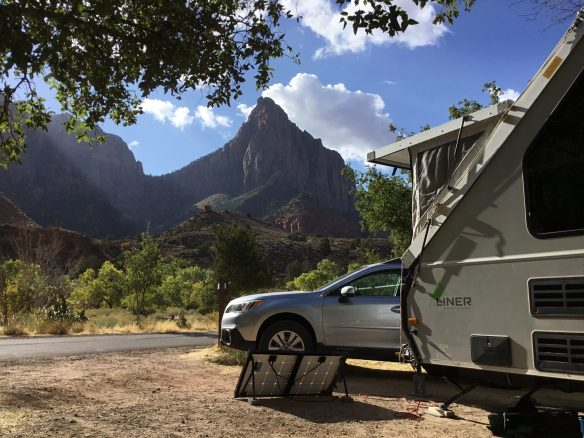 """Our campsite at 95, with a great view of the """"Watchman"""""""