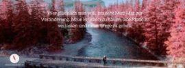 Facebook Titelbild mit diesem Spruch über neue Wege und Mut