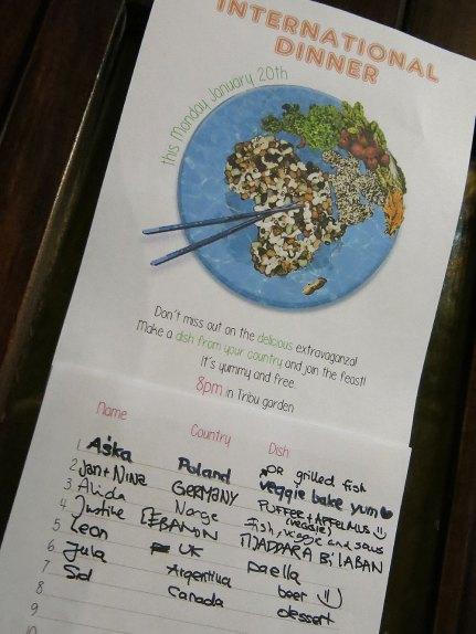 Teilnehmerliste des International Dinners