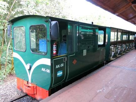 Dieser Zug kutschiert die Besucher bequem von einem Trail zum nächsten.