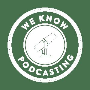 We Know Podcasting White Logo