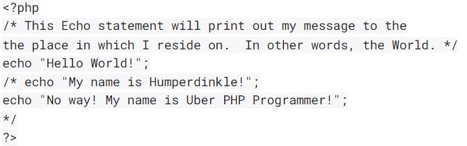 Комментарии в PHP