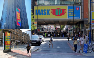Welcome Back campaign signage across Manchester