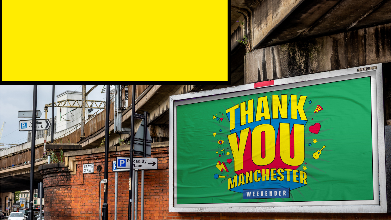 Decorative image: Thank you Manchester branding on a billboard