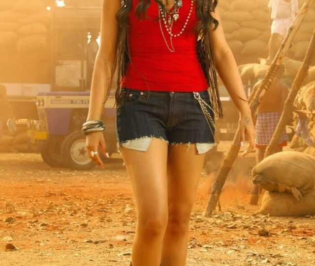 Trisha In Mini Jeans Skirt With Red Top