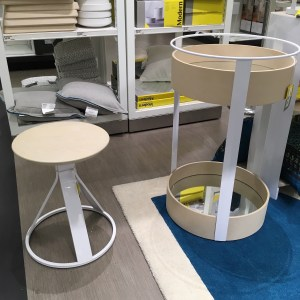 Modern by Dwell Magazine for Target stool and bar cart trolley. Both are round.