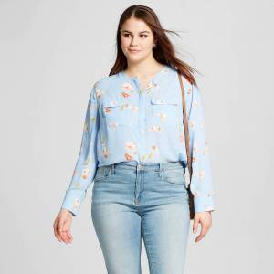 Who What Wear Target Spring 2017 collection blue floral button up blouse