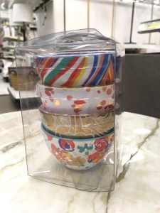 Oh joy! ceramic bowls at Target, in rainbow colors, 4 to a box.