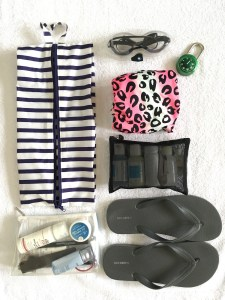 Baggu 3D Zip, and all the things I carry in it to the gym, organized very nicely. These include flip flops, swim suit, lock, goggles, toiletries.