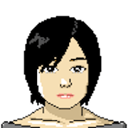 Illustration of Melissa of Welcome Objects. She has black hair and is wearing a boatneck shirt.