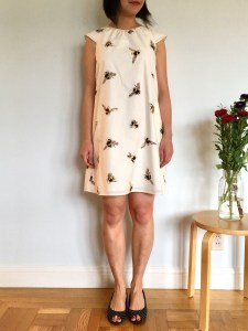 Victoria Beckham for Target bee print girls' dress as modeled on me, a petite woman, who fit in the XL size. Worn with black peeptoe shoes.