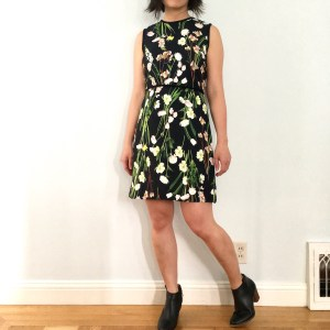 Victoria Beckham for Target black floral satin dress, as modeled on me. Worn with booties.